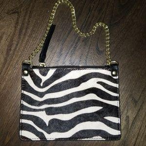 New Genuine Calf Hair Zebra Wristlet